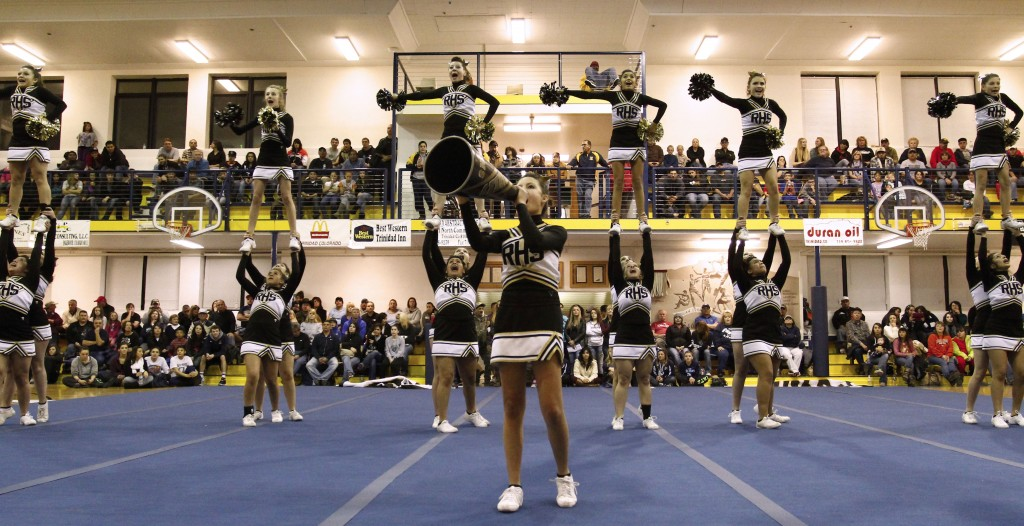 """Photos: (by Matt """"Moose"""" Young) The Raton Cheerleaders performing on Thursday evening"""