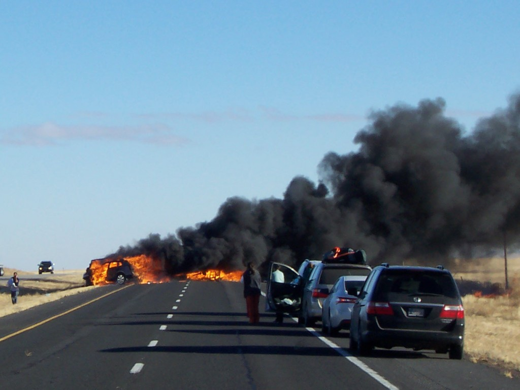 Photo by Mike Schoonover This fiery accident took place just a few miles east of Des Moines on New Year's Day