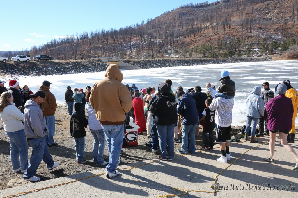 A good crowd was on hand to witness the first Polar Bear Plunge held at Lake Maloya Wednesday New Year's day