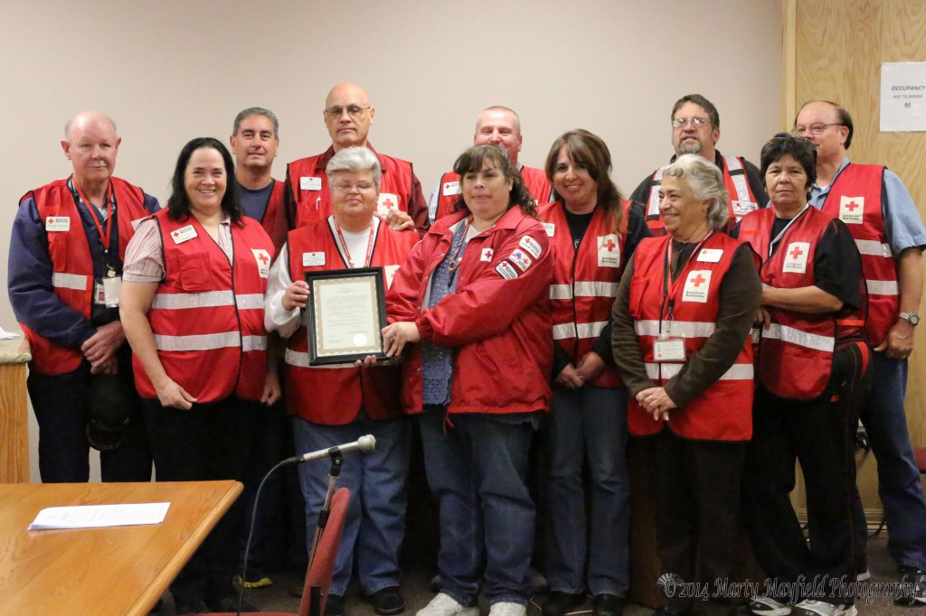 In March the Red Cross volunteers are recognized for their many efforts during the year where they respond to many natural and man made disasters.  L to R David Butt, Jo Ozbun, Lawerence Trujillo, Sue Downing, Dennis Downing, Mona Sandoval, Randy Madison, tina Bird, Lita Sandoval, Mark Baxter, Lita Bernal and Frank Ozbun