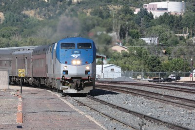 The Station to Station train arrives in Raton in September. One of the many special trains that have travelled the rails from Kansas through Colorado and New Mexico.