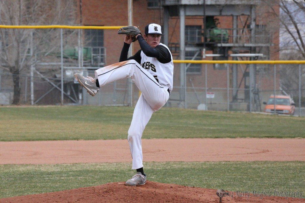 Cam Baird goes the distance in the 5-0 win over the Pojoaque Elks in the second game of a double header Saturday
