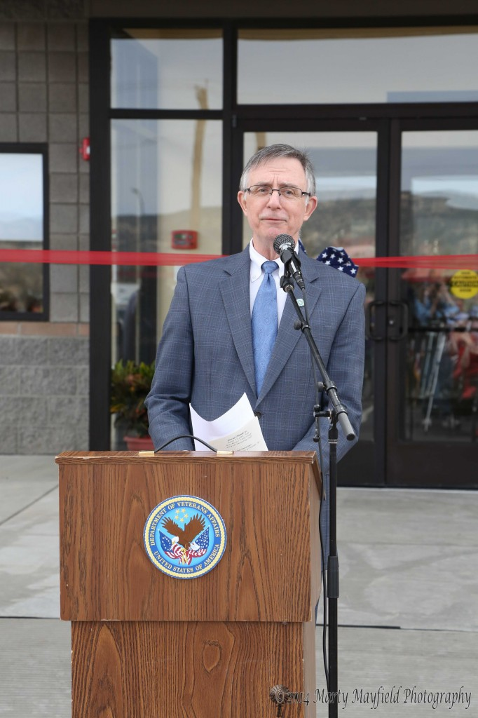 Master of Ceremonies George Marnell, Director of the NM VA Health Care Systems. It was noted by his boss Susan Bowers that Marnell would be retiring from government service after 38 years and that it was befitting that he completed this project before his retirement.
