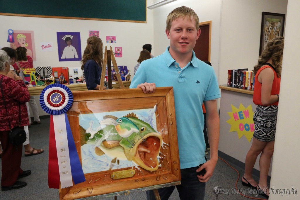 "Luke Cimino received the best of show with his ""Largemouth Bass"" at this year's Youth in Art show held at Raton High School Thursday evening."