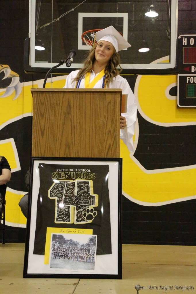 Mikala Vertovec, the class Valedictorian, gave her address Friday at Graduation