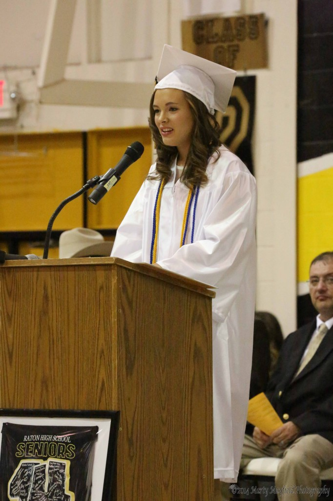 Ila Medina gives the Welcome address at the RHS graduation Friday night