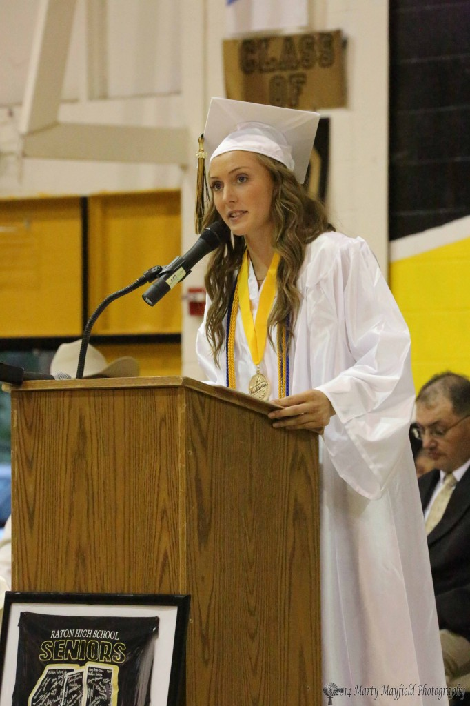 At the Friday night ceremony class valedictorian Mikala Vertovec gives her speech
