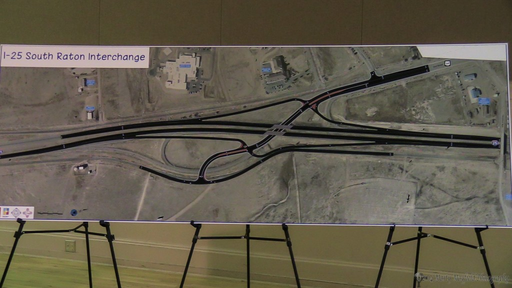 The new design of the South I-25 Interchange. The outer areas in black will be where the new construction will be. It was noted that the off ramps will have longer runs parallel to the interstate than the current ones.