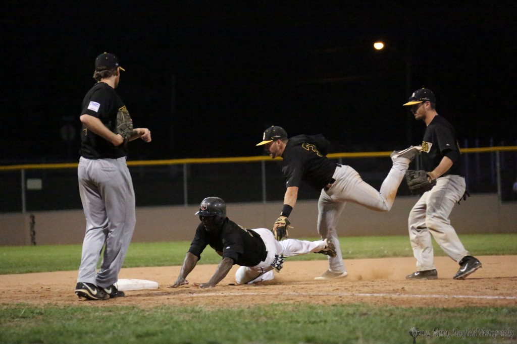 CJ Epperson is tagged out as he gets caught in a pickle situation Wednesday evening at Gabriele Field