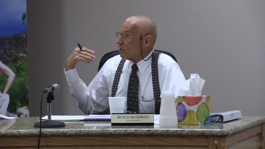 City Manager Butch McGowen gives his report to the commissioners Tuesday evening