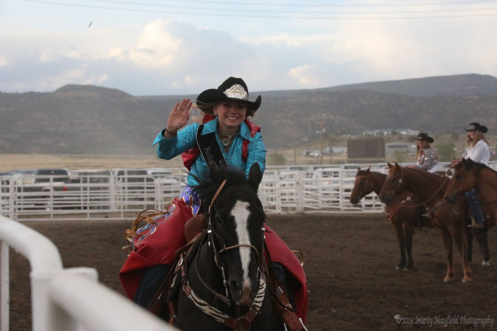 Colfax County Rodeo Queen Jana Mills takes a Queens run around the arena Saturday night