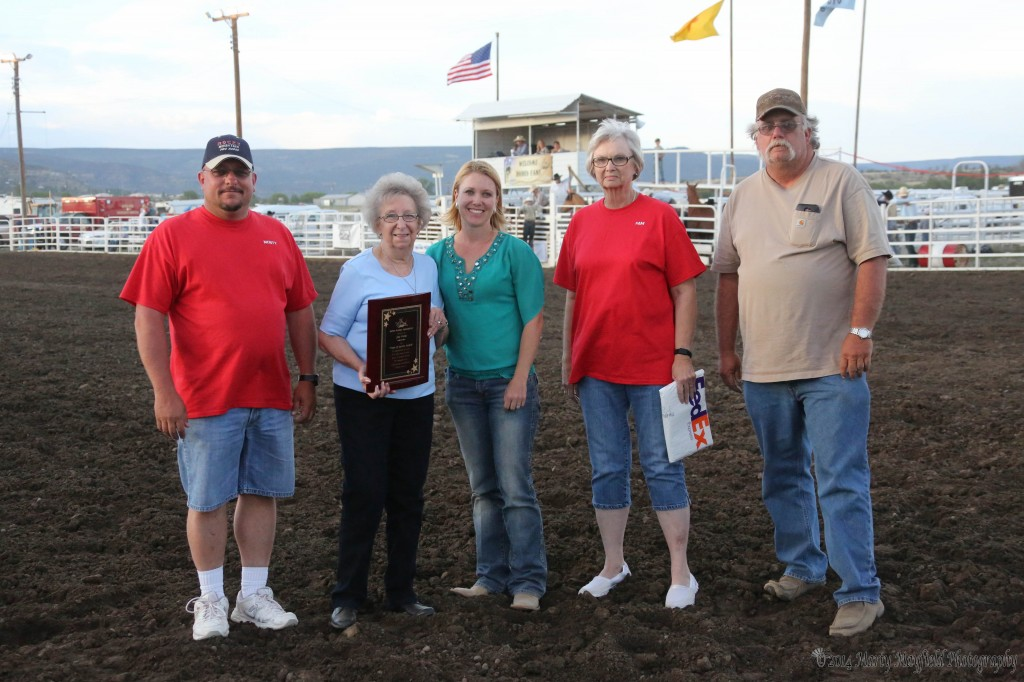 L to R Monty Coangelo, Judy Young, Melissa Mack, Pam Krizan and Mark Vickers The Raton Rodeo Association honored Judy Young for her 30+ years of service to the Raton Rodeo. The arena is named after Judy's lat husband Jim Young.