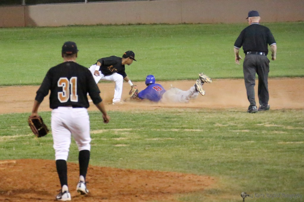 The throw to second is well ahead of the base runner as he is tagged well ahead of second base.