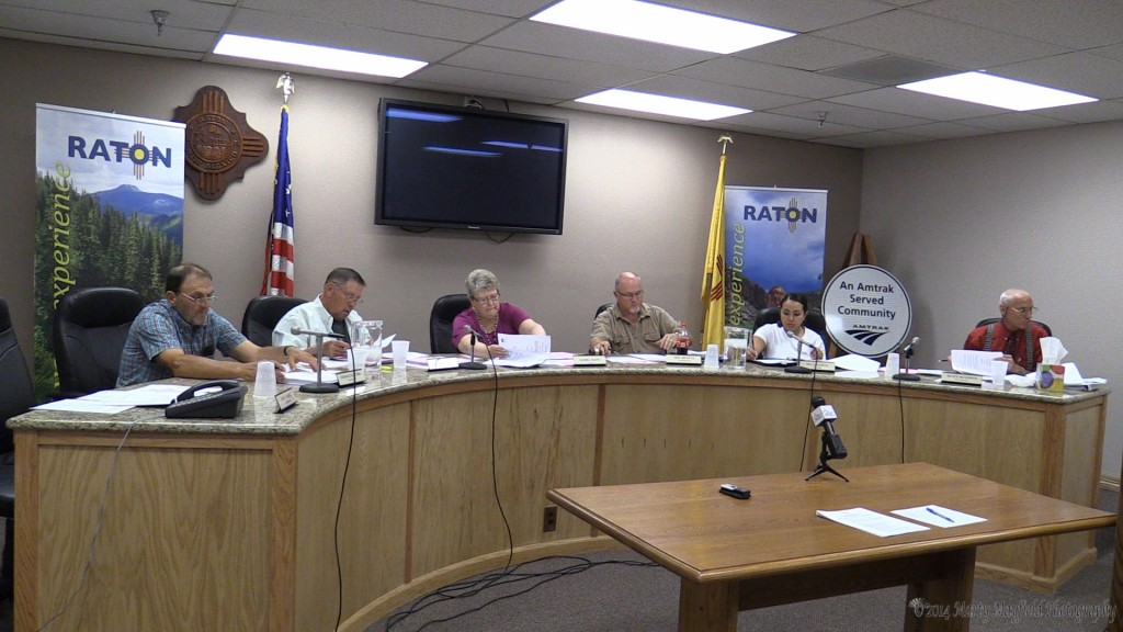 Raton city commissioners work through the agenda Tuesday evening after hearing from Raton residents on the the GRT increase for the Aquatic Center debt service.