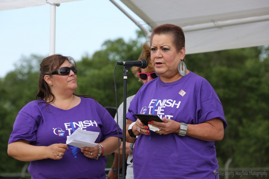 Nina Padilla spoke at the 2014 Relay for Life as a survivor, one of many who made it to Tiger Stadium Friday evening.