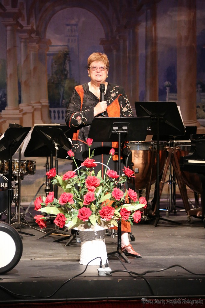 Mayor Sandra Mantz spoke to the crowd at the Shuler Theater 100th anniversary of the laying of the cornerstone