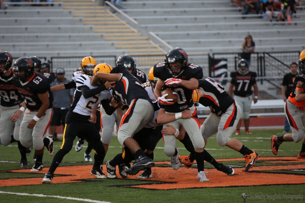 Big Senior Dominic Brown proved to be a tough running back to bring down for the smaller Raton Players.