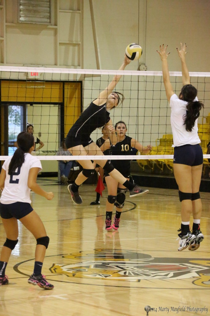 Kristina Jansen slams the ball over the net against Trinidad Tuesday evening in Tiger Gym