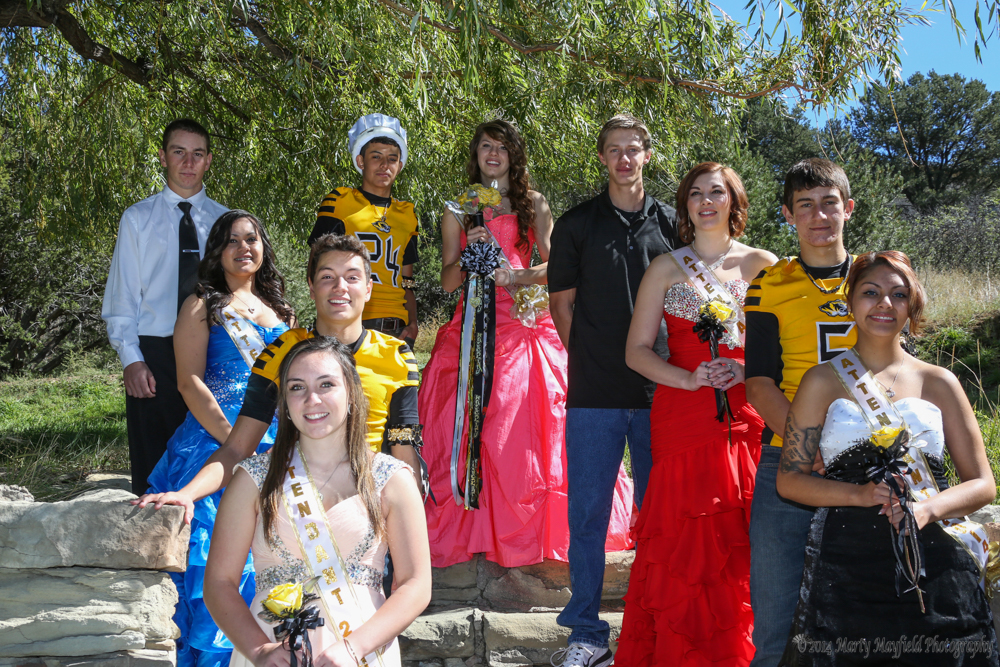 Homecoming Royalty Martin Ortiz, Heather Segura, Caydence Sisneros, Dillon Query, King Oscar Arreola, Queen Kristina Jansen, Ethan Washburn, Ashlyn Martinez, Dante Mileta and Alexandra Flores