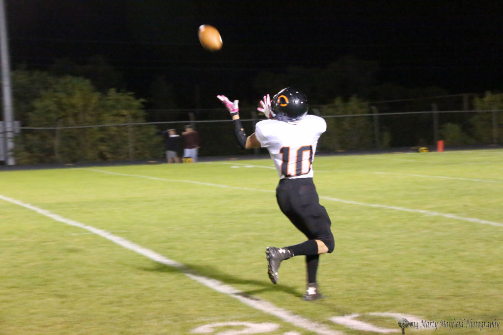 All alone Justin Taylor takes a Colby Bagel pass, only one of four Clayton threw in the game, for a touchdown