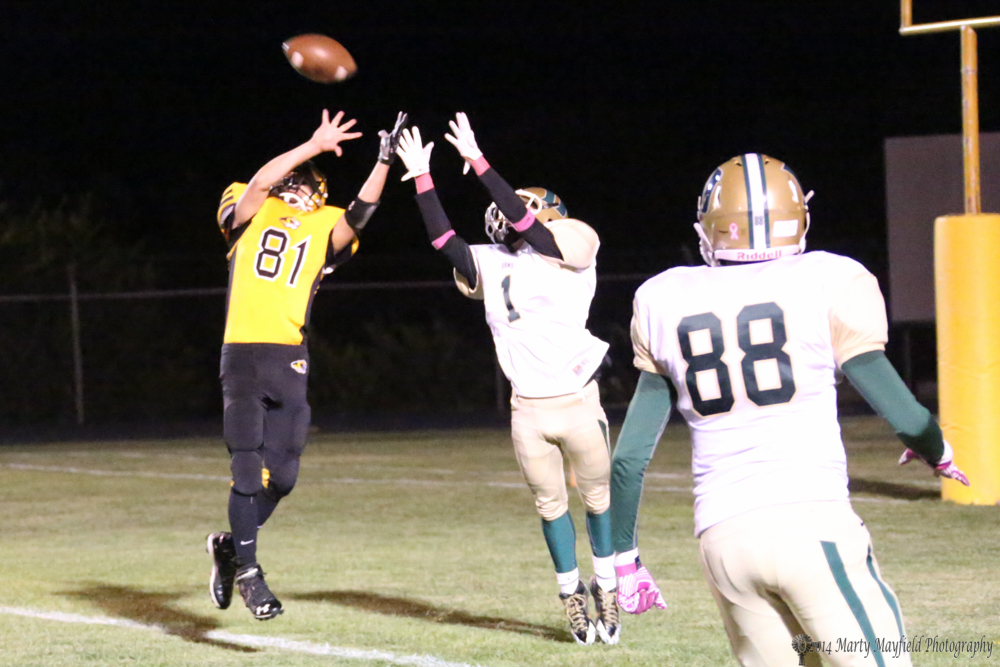 Connell Ware (81) just gets a hand on this one to keep Miguel Sena (1) from making the catch and six points for West.