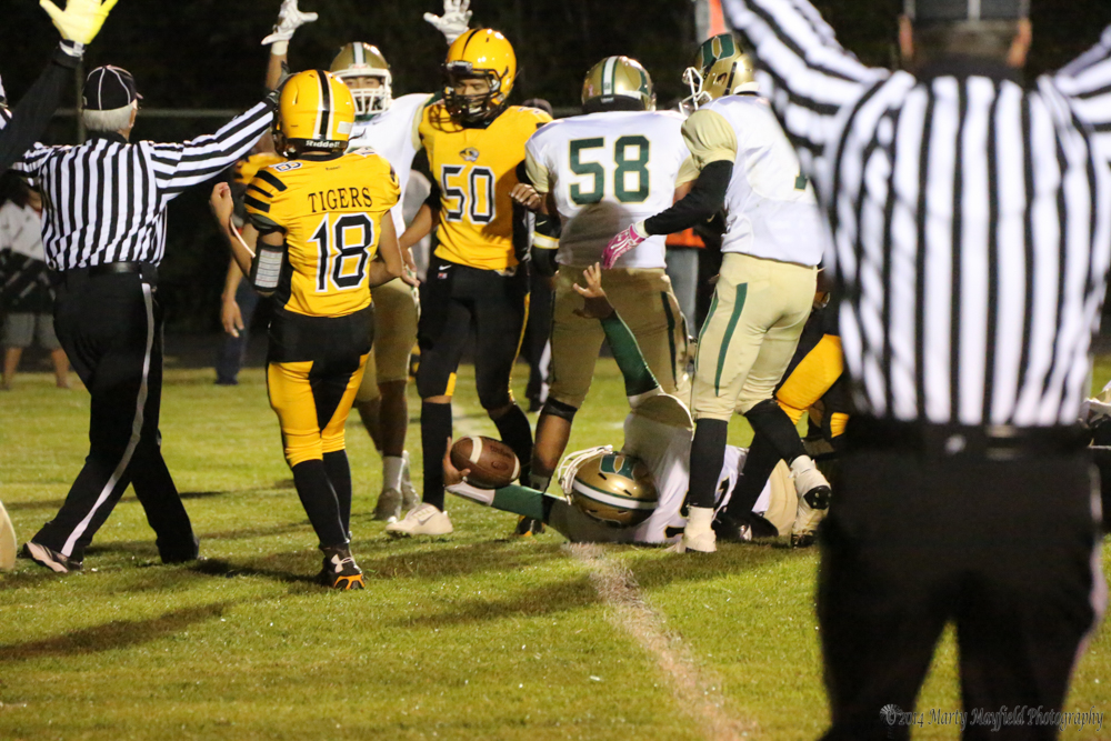 JJ Montano leans it over the goal line for West's first score of the night