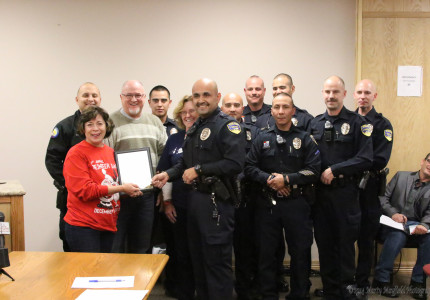 The annual Reindeer Dash will be December 6 at 10:00 a.m. the program raises money for toys for tots and this year the Raton Police officers donated $2000 to the effort.