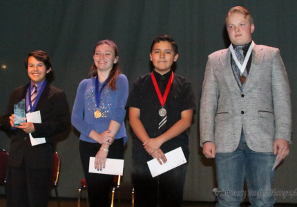 L to R Jacob Sanchez 1st Place Div 2; Brooke Fleming 1st place Div 1; Danny Morales 2nd Place Div 1; Zebediah Van Sweden 3rd Place, Div 1 Jacob Sanchez took the Trophy once again for Maxwell Schools.
