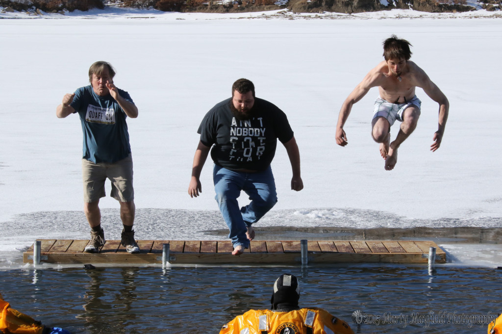 Some of the 43 participants of the polar bear plunge Thursday afternoon.