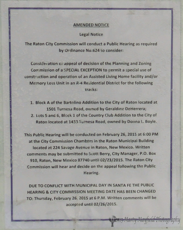 This notice was posted on the property that Bee Hive is wanting to build an assisted living facility on.