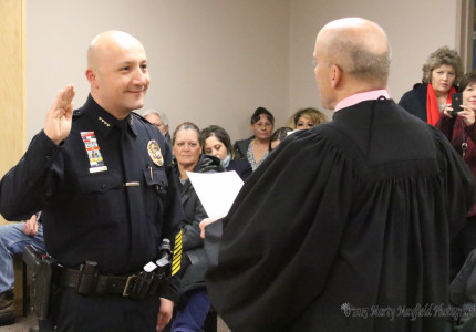 New Raton Police Chief John Garcia was sworn in by Magistrate Judge Warren Walton Thursday evening during the Raton City Commission meeting.