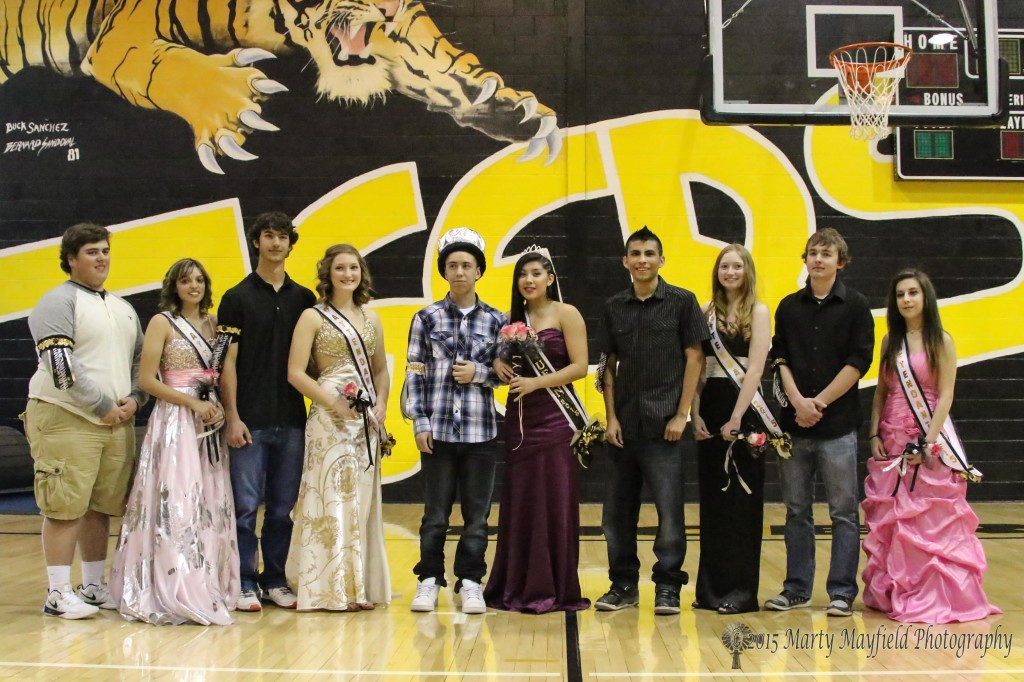 Raton High Student Senate hosted Tigerfest Friday and Crowned the King and Queen at an assembly of student Friday afternoon in Tiger Gym L to R  Brent Trujillo, Brianna Pais, Christian Granado, Natalie Castellini, King Dion Padilla and Queen Sabrina Valdez, Christian Trujillo, Kate Little, Danny Record, Renee Martinez