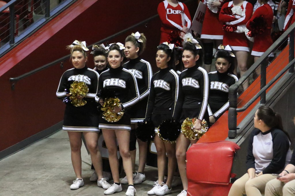 RHS Cheer prepare to take the court during the State Spirit competition Friday morning