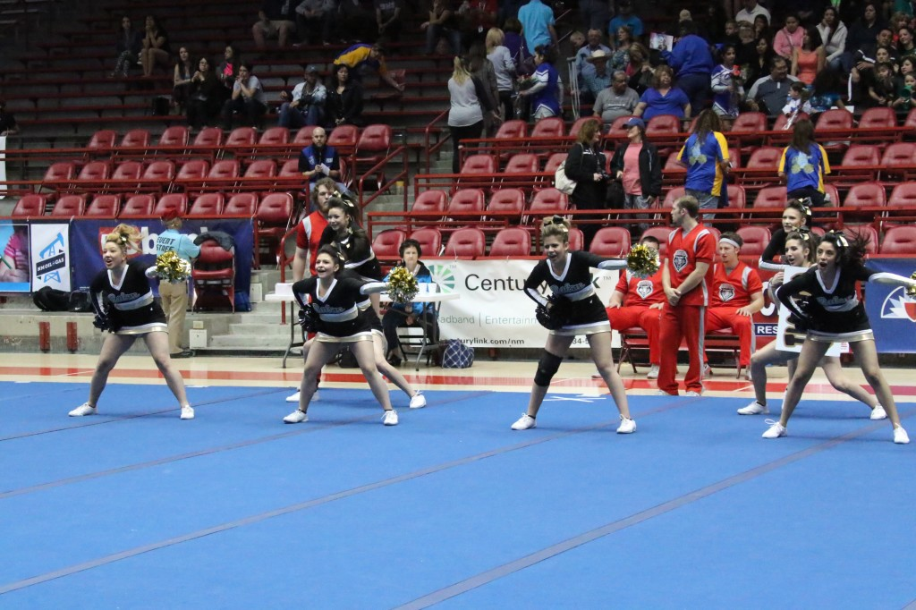 RHS cheer start their routine Saturday morning in the pit at the state spirit competition