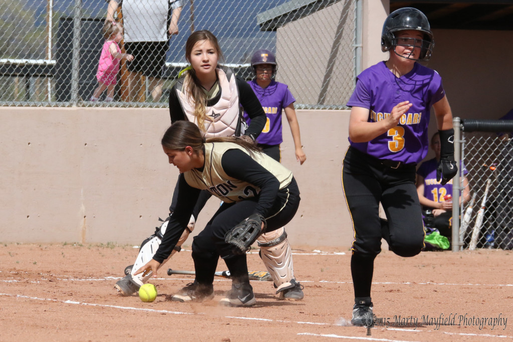 1st Baseman Andie Ortega fields a bunted ball near home plate and makes the throw to first for the out as Kyeli Collins tries to outrun the throw.
