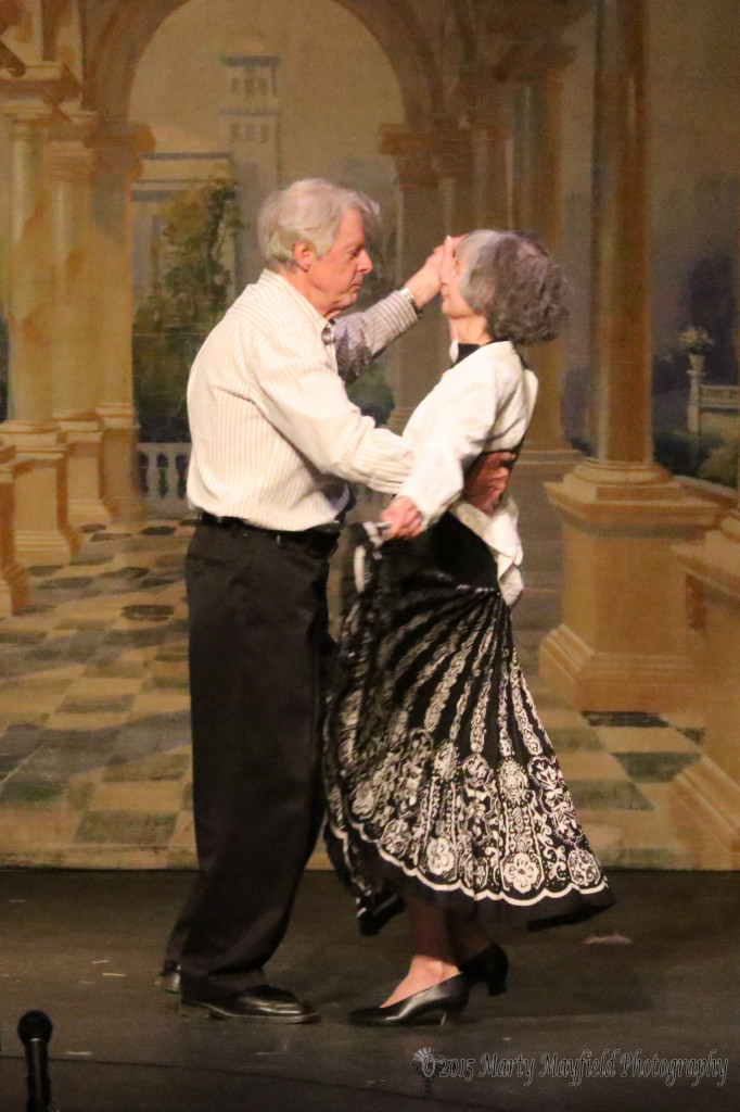 Howard and Carol Woodworth waltz on the Shuler Stage