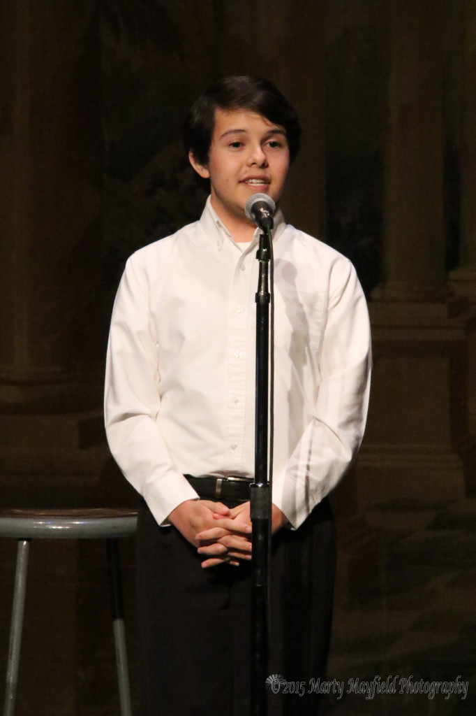 "Jacob Sanchez performed ""Eidelweiss"" from the Sound of Music and wowed the crowd."