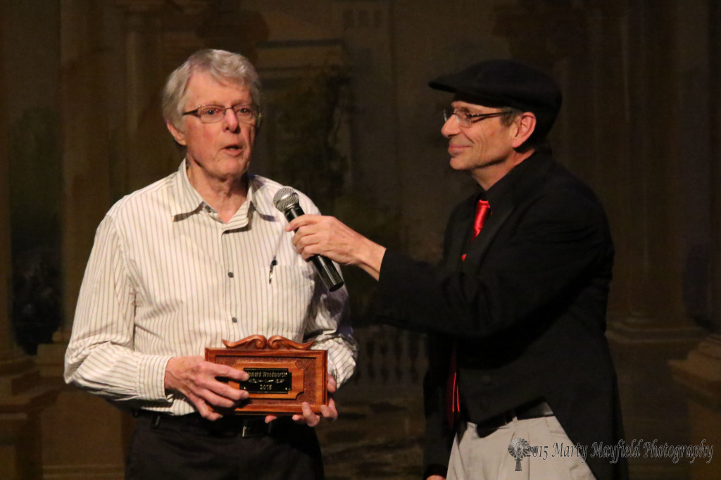 "Howard Woodworth accepts a Shuler ""Wall-of-Fame"" award for his years of acting/directing/producing at the Shuler.  Woodworth first performed on the Shuler Stage in 1949 and most recently directed/acted in the Raton Choral Society's ""Hello Dolly"" this past March 2015."