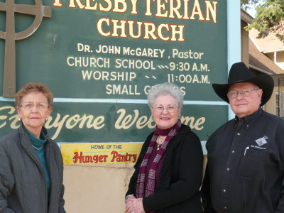 Left to right:  Janet Wingo, Pat Bell, Crews Bell. The Bells are former co-directors of the Raton Hunger Pantry, now living in Amarillo, Texas. Janet Wingo currently handles the finances for the Pantry.