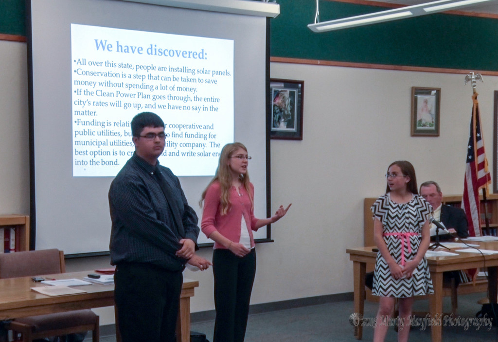 Donovan Mendez, Melissa Sanchez, and Kylie Maes spoke to the board about a solar system for the Raton Middle School