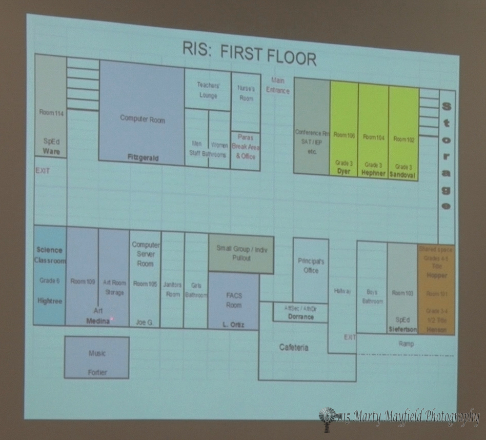 Raton Intermediate School student classroom assignments on the first floor of the school