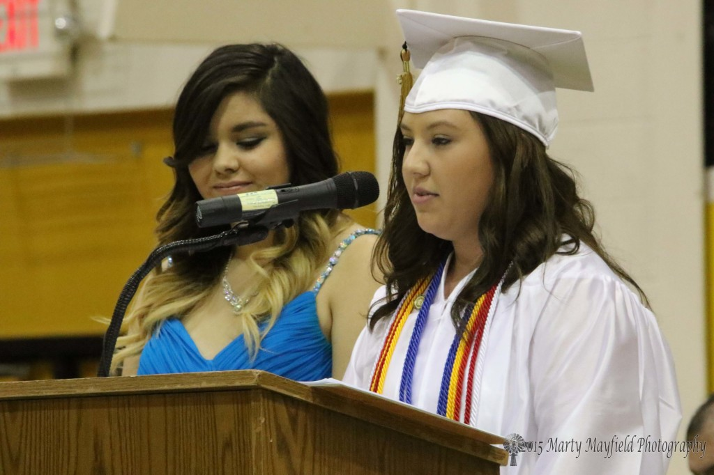 2015 Class President Cheyenne Duran passed on the key to the school to Junior Class President Jamie Lopez