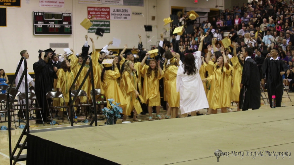 The throwing of the caps by the Class of 2015