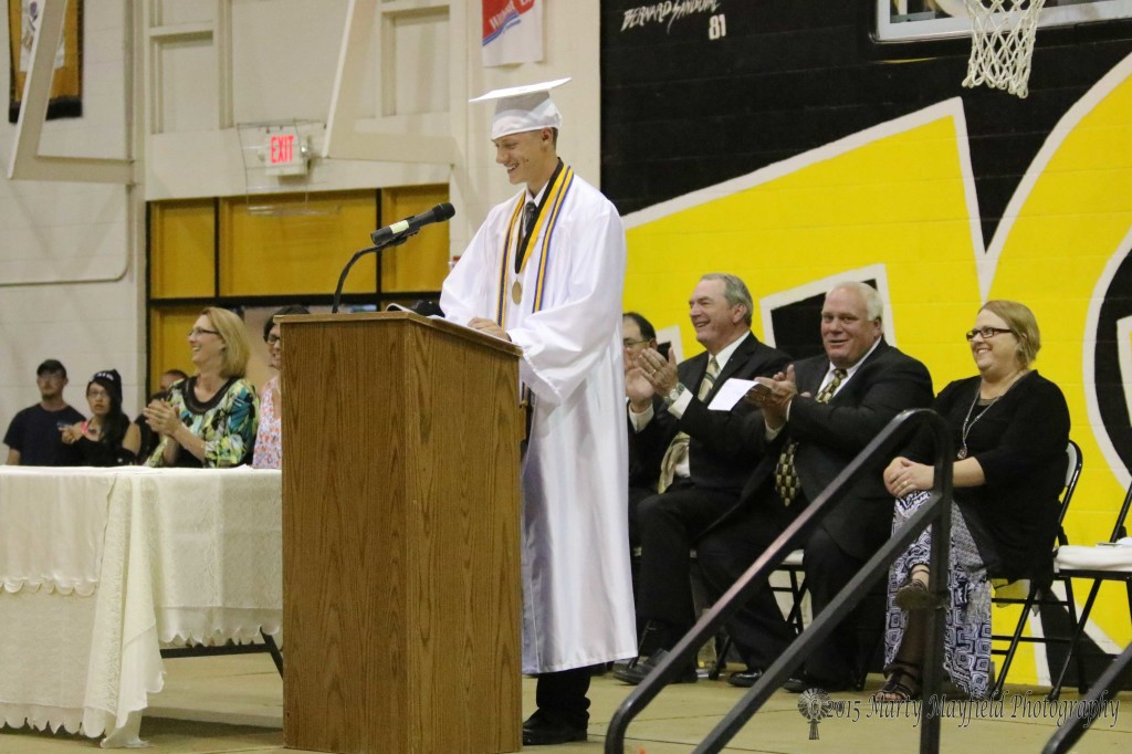 Salutatorian Ethan Washburn closed Friday night's graduation ceremony with his farewell speech to the Class of 2015.
