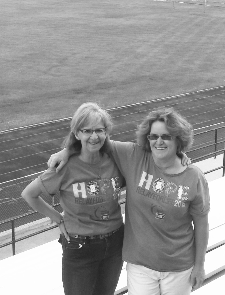 Event Chairs 'Oscar' and 'Felix' set the stage for the upcoming Colfax County's Relay for Life.  Left - Mercy Swanson, Right - Jami Esquibel .  Photo by Colette M. Armijo.