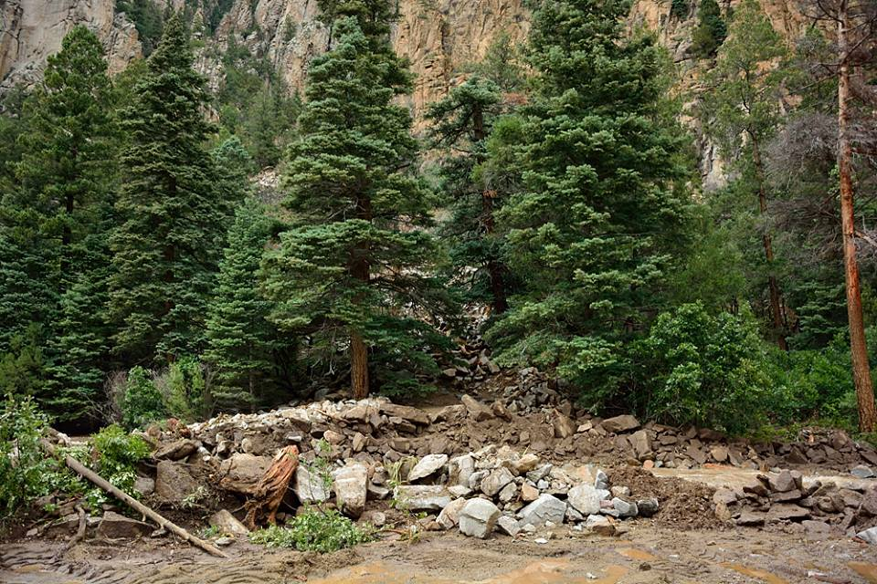Debris flow after major flooding in Cimarron Canyon    Photo by David Wettling