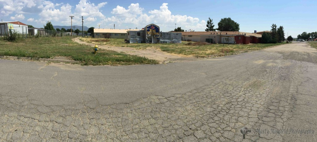 A panorama view of the alley way and Emerson Street behind the Sands Motel.