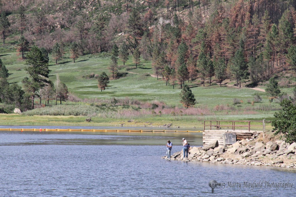 A yellow boom is stretched across the lake to help keep sediment and debris at bay after the 2011 Track Fire.