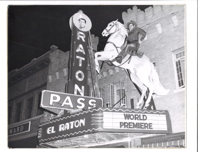 RATON PASS, in neon, on the marquee of the El Raton Theater.