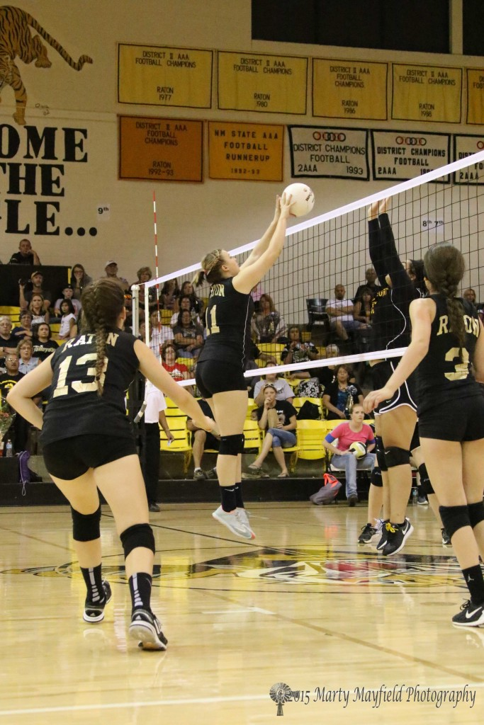 Kerrigan Weese pushes the ball over the net as Des Moines Abby Trujillo goes for the block.